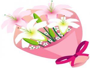 イラスト 百合の花束