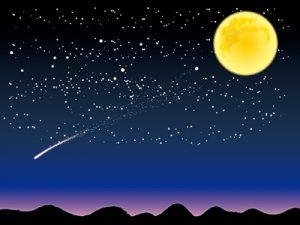 イラスト 月見 月と流れ星