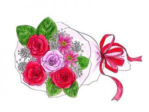 薔薇の花束 イラスト 敬老の日