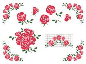 イラストカード 薔薇 フレーム