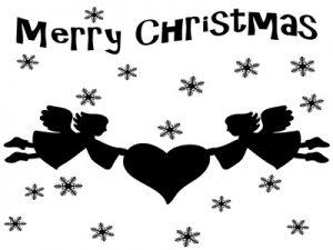 クリスマス イラスト 天使 エンゼル 白黒