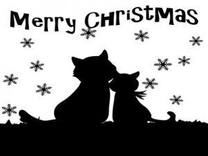 クリスマス シルエット 黒猫