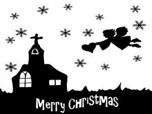 クリスマス 教会 イラスト 白黒