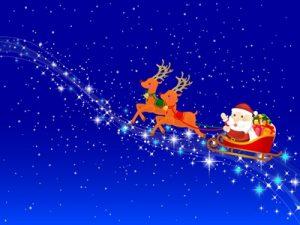 クリスマス イラスト 空飛ぶトナカイ