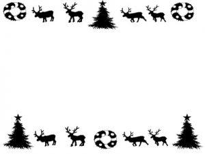 クリスマス イラスト フレーム 白黒 可愛い