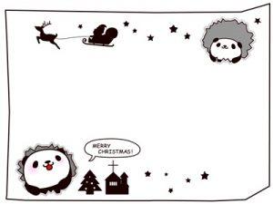 クリスマス イラスト フレーム 白黒 かわいい