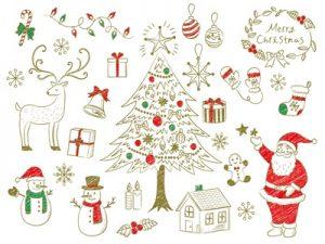 クリスマスツリー 手書き風 イラスト