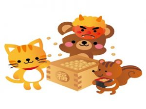 節分 動物 イラスト クマ リス 猫