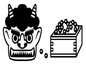 節分 白黒 モノクロ 塗り絵 イラスト 無料