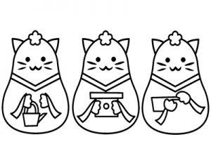 雛人形 三人官女 動物 白黒 イラスト 無料 フリー