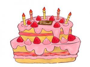 バースデーケーキ 誕生日ケーキ イラスト 手描き 手書き 無料 フリー