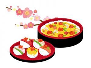ひな祭り 食べ物 イラスト ちらし寿司 てまり寿司 無料 フリー