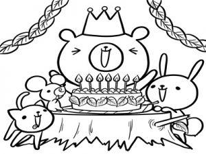 バースデーケーキ 誕生日ケーキ 白黒 塗り絵 イラスト 無料 フリー