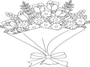 花束 ブーケ イラスト 塗り絵 白黒 無料 フリー