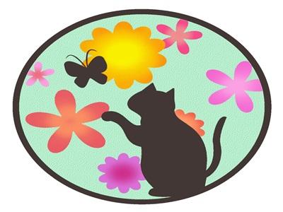 花 イラスト おしゃれ 動物 猫 無料 フリー