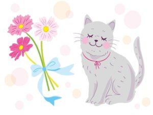 花束 イラスト 動物 猫 おしゃれ かわいい 無料 フリー