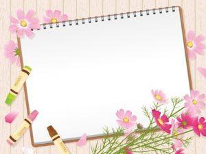 秋の花 コスモス イラスト フレーム 無料 フリー