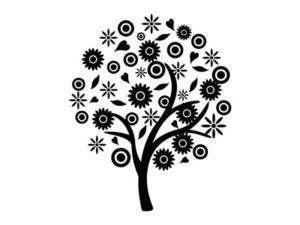 花 イラスト 白黒 モノクロ シルエット 無料 フリー
