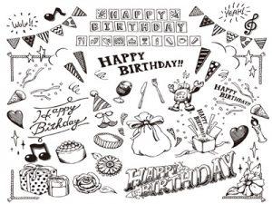 誕生日カード 白黒 手描き おしゃれ 無料 フリー