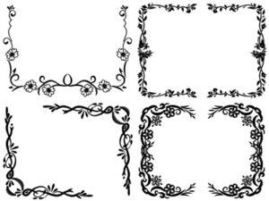 花 イラスト フレーム モノクロ 白黒 無料 フリー