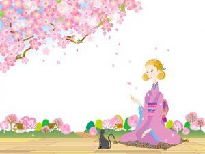 お花見 桜 縁側 女性 猫 イラスト かわいい 無料 フリー