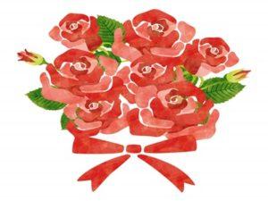 花束 イラスト 手描き おしゃれ 薔薇 バラ 無料 フリー