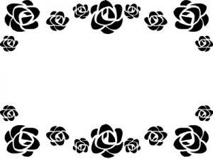 花 イラスト フレーム 白黒 薔薇 無料 フリー