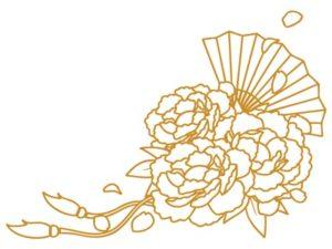 花束 イラスト 塗り絵 おしゃれ 和風 和柄 牡丹 無料 フリー