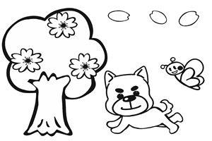春 イラスト 白黒 塗り絵 かわいい 桜 犬 蝶 無料 フリー