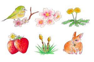 春 イラスト 手書き 手描き 水彩画 おしゃれ 無料 フリー