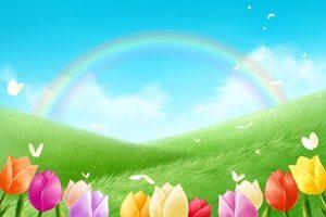 春 イラスト 背景 チューリップ 野原 草原 虹 無料 フリー