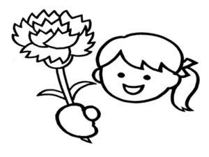 母の日 カーネーション 女の子 白黒 塗り絵 無料 フリー