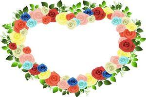 薔薇 バラ イラスト フレーム 枠 ハート型 無料 フリー