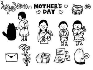 母の日 お母さん イラスト 白黒 モノクロ 塗り絵 無料 フリー