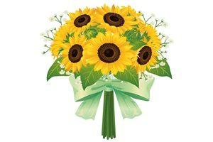 ひまわり イラスト 綺麗 花束 無料 フリー