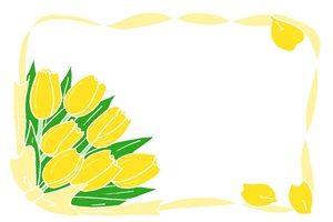 チューリップ 黄色 イラスト フレーム 無料 フリー