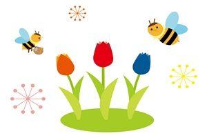 チューリップ 蜂 イラスト かわいい 無料 フリー