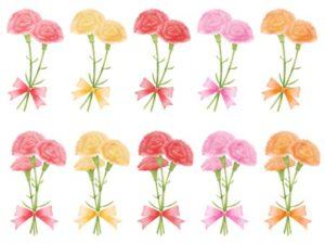 カーネーション イラスト 花束 リボン 無料 フリー