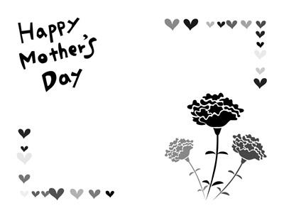 母の日 イラスト 白黒 モノクロ 塗り絵 無料 フリー