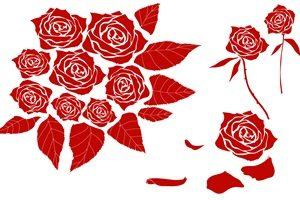 薔薇 バラ イラスト シルエット オシャレ 無料 フリー