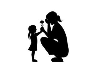 母の日 イラスト 白黒 シルエット モノクロ 無料 フリー