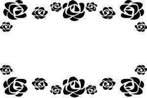 薔薇 バラ イラスト フレーム 白黒 モノクロ 無料 フリー