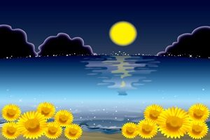 ひまわり イラスト 夜 海 かっこいい 綺麗 無料 フリー