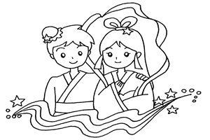 織姫 彦星 イラスト 塗り絵 白黒 無料 フリー