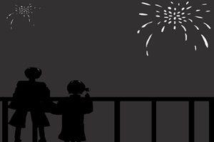 花火 イラスト 白黒 シルエット 背景 壁紙 無料 フリー