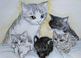 猫 イラスト 手書き 手描き 線画 無料 フリー