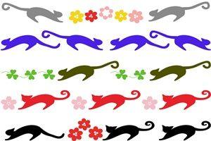猫 イラスト シルエット カラー 無料 フリー