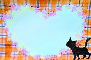黒猫 イラスト キレイ フレーム 無料 フリー