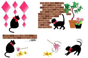 おしゃれ 黒猫 クロネコのイラスト 無料素材 じゃぱねすくライフ