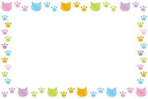 猫 イラスト フレーム シルエット カラー 無料 フリー